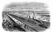 Roger-Viollet | 502144 | The Suez Canal (Egypt). Boat convoy going from Ismaïlia to Suez. Engraving by Blanchard, 1868. | © Roger-Viollet / Roger-Viollet