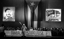 Roger-Viollet | 522657 | First anniversary of the AJR (Asociación de Jóvenes Rebeldes, Association of Young Rebels). Fidel Castro (1926-2016), Cuban revolutionary and statesman. Cuba, 1961. | © Gilberto Ante / Roger-Viollet