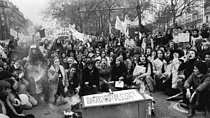 Roger-Viollet | 526204 | First demonstration counting 5,000 to 10,000 people, denouncing the horror of illegal abortions and claiming the right to abortion and contraception. Paris, on November 20, 1971. | © Catherine Deudon / Roger-Viollet