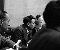 Roger-Viollet | 527475 | World War II. Louis-Ferdinand Céline (1894-1961), French writer, attending a conference at the Institute for Jewish Affairs. Paris, May 1941. Photograph by Roger Berson. | © Roger Berson / Roger-Viollet