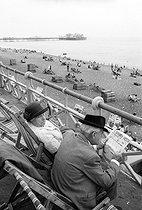 Roger-Viollet | 566338 | Couple on a terrace facing the sea | © Jean-Pierre Couderc / Roger-Viollet
