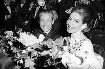 Roger-Viollet | 569915 | Maria Callas (1923-1977), Greek opera singer and Alexander  Sandy  Bertrand at the official reception of Ribes at Maxim's in Paris. | © Jack Nisberg / Roger-Viollet