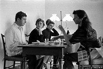 Roger-Viollet | 578325 | Bernard Franck, Françoise Sagan, Michel Magne and Madeleine Chapsal. Saint-Tropez (Var, France), in 1956. | © Bernard Lipnitzki / Roger-Viollet