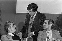 Roger-Viollet   593467   Meeting of the Socialist Party. Lionel Jospin, Jean-Pierre Chevènement and Paul Quilès. Alfortville (France), January 1980..   © Jacques Cuinières / Roger-Viollet
