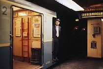 Roger-Viollet   631136   Subway ticket inspector. Paris, circa 1970. Photograph by Léon Claude Vénézia (1941-2013).   © Léon Claude Vénézia / Roger-Viollet
