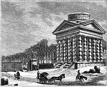 Roger-Viollet | 643296 | Paris VIIIème arr.. La barrière des Champs-Elysées (Claude Nicolas Ledoux architecte). Gravure (XIXème siècle) d'après Philibert Louis Debucourt (1755-1832). | © Roger-Viollet / Roger-Viollet