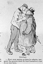 Roger-Viollet | 657583 | Jehan Testevuide (1873-1922).  Sociologie (apache parisien menaçant un bourgeois) . Estampe, novembre 1905. | © Collection Roger-Viollet / Roger-Viollet