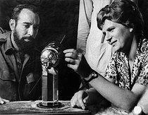 Roger-Viollet | 660845 | Cuba. Valentina Tereschkova (born in 1937), Sovietic cosmonaut and Antonio Nuñez Jiménez, with a model of Sputnik. | © Gilberto Ante / BFC / Roger-Viollet