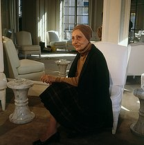Roger-Viollet | 662950 | Madam Grès (1903-1993), French fashion designer, in her couture house. Paris, rue de la Paix, October 1981. | © Kathleen Blumenfeld / Roger-Viollet