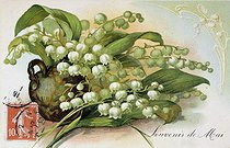 Roger-Viollet | 688028 | Lily of the valley,  Memory of may . Postcard of the May Ist. | © Roger-Viollet / Roger-Viollet