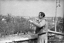 Roger-Viollet | 703077 | Louis-Ferdinand Céline (1894-1961), French writer. Meudon, 1955-1956. | © Bernard Lipnitzki / Roger-Viollet
