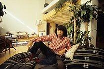 Roger-Viollet | 709753 | Kenzo Takada (1939-2020), Japanese fashion designer, at his place, 1978. | © Jean-Régis Roustan / Roger-Viollet
