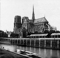 Roger-Viollet | 724372 | Perspective of Notre Dame de Paris Cathedral, after the restorations made by Viollet-le-Duc. Paris, circa 1865-1867. | © Léon & Lévy / Roger-Viollet