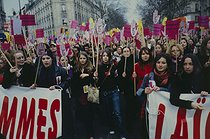 Roger-Viollet | 727670 | Demonstration with  Ni putes, ni soumises  (Neither Whores nor Submissives) and SOS Racisme for  Seculariy, Equality and diversity , against the headscarf in secular and republican schools. Paris, March 6, 2004. | © Catherine Deudon / Roger-Viollet