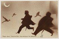 Roger-Viollet | 732128 | Carte postale sur le gang des Apaches. Impression photomécanique en couleurs. Bibliothèque historique de la Ville de Paris. | © BHVP / Roger-Viollet