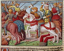 Roger-Viollet | 737259 | Charlemagne (747-814), King of the Franks and Holy Roman Emperor, with his army. Expedition against Sarrazins in Spain (778). Miniature from  Ogier the Dane  by A. Vérard. Paris (1499). | © Roger-Viollet / Roger-Viollet