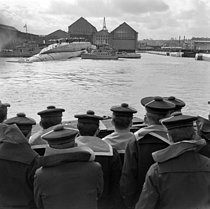 Roger-Viollet | 741982 | Launching of the French submarine  Le Redoutable . Cherbourg (Manche, France), on March 29, 1967. | © Jacques Cuinières / Roger-Viollet