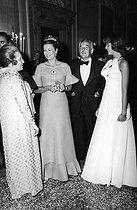 Roger-Viollet | 747338 | Princess Grace of Monaco, Prince Rainier of Monaco and Caroline of Monaco, at the Volpi ball. Venice (Italy), 1973. | © Jack Nisberg / Roger-Viollet