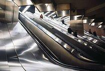 Roger-Viollet | 853009 | RER, rapid transit system. Escalators. Paris, circa 1970. Photograph by Léon Claude Vénézia (1941-2013). | © Léon Claude Vénézia / Roger-Viollet