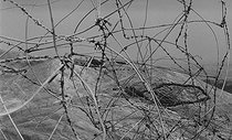 Roger-Viollet | 882791 | Algerian War of Independence. The French Army's fort in M'Zaourat, Mascara Area. Mined barbed wire fence, erected by the troop to protect the fort. Algeria, Summer 1961. | © Jean-Pierre Laffont / Roger-Viollet