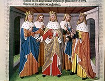 Roger-Viollet | 897656 | Charlemagne (747-814), King of the Franks and Emperor of the West, and other Christian Kings meeting at his court. Miniature from  Ogier the Dane , by A. Vérard. Paris, 1499. Turin, National Library. | © Roger-Viollet / Roger-Viollet