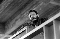 Roger-Viollet | 900401 | Fidel Castro (1926-2016), Cuban revolutionary and statesman, inaugurating the José A. Echevarria's student hall of residence. Cuba, circa 1960. | © Gilberto Ante / Roger-Viollet