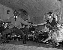 Roger-Viollet | 912675 |  Gandhi  (Alexandre Nicolas Gormis) and Renée Janvier. Rock'n'Roll. Paris, 1956. | © Bernard Lipnitzki / Roger-Viollet