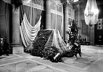 Roger-Viollet | 922594 | The coffin of Jean Jaurès's ( 1859-1914 ) body exposed to the palace Bourbon before its burial in the Pantheon. Paris, on 1924. HRL-601113 | © Albert Harlingue / Roger-Viollet