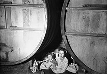 Roger-Viollet | 945705 | World War II. Inhabitants of Maintenon (Eure-et-Loir) taking refuge in a cellar, during American air raids aiming at German warehouses of ammunitions. June 1944. | © Pierre Jahan / Roger-Viollet