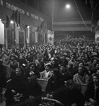 Roger-Viollet | 946258 | French Communist party. Rally of women organized by Maria Rabaté (1900-1985), French politician. Paris, 1936. Photograph by Marcel Cerf (1911-2010). Bibliothèque historique de la Ville de Paris. | © Marcel Cerf / BHVP / Roger-Viollet