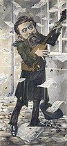 Roger-Viollet | 965292 | Jean Jaurès (1859-1914), French politician. Satirical cartoon by E. Miller. | © Roger-Viollet / Roger-Viollet