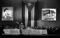 Roger-Viollet | 967055 | First anniversary of the AJR (Asociación de Jóvenes Rebeldes, Association of Young Rebels). Fidel Castro (1926-2016), Cuban revolutionary and statesman. Cuba, 1961. | © Gilberto Ante / Roger-Viollet