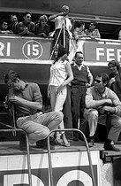 Roger-Viollet | 977632 | The 24 Hours of Le Mans (Sarthe). June 20-21, 1959. Roger Vadim, Annette Stroyberg and Christian Marquand, at the Ferrari stand. | © Bernard Lipnitzki / Roger-Viollet