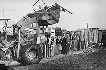 Roger-Viollet | 991515 | Portuguese community, destruction of a shanty town. La Courneuve (Seine-Saint-Denis), 1967. | © Georges Azenstarck / Roger-Viollet