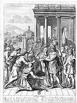 Roger-Viollet | 992975 | Illustration de l'édit d'Alès accordée par Louis XIII (1601-1643), roi de France, aux protestants, en 1629. Gravure, Paris. B.N. | © Roger-Viollet / Roger-Viollet