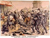 Roger-Viollet | 1013051 | Clashs between apaches and policemen. Paris, place de la Bastille.  Le Petit Journal , August 1904. | © Roger-Viollet / Roger-Viollet