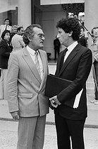 Roger-Viollet | 1042883 | Georges Fillioud (1929-2011), and Jack Lang (born in 1939), French politicians. | © Jacques Cuinières / Roger-Viollet