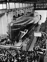 Roger-Viollet | 1068456 |  Le Redoutable , first French nuclear submarine, at its launch. Cherbourg (Manche), March 29, 1967. | © Roger-Viollet / Roger-Viollet