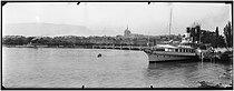 Roger-Viollet | 1074964 | Geneva - The Mont-Blanc bridge and the St Pierre cathedral | © Léon & Lévy / Roger-Viollet