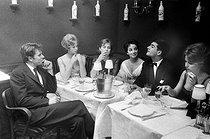 Roger-Viollet | 1090795 | Actors of the  Nouvelle vague . From left to right: Laurent Terzieff, Jeanne Valérie, Juliette Mayniel, Andréa Parisy, Jean-Claude Brialy, Annette Stroyberg. April 1959. | © Bernard Lipnitzki / Roger-Viollet