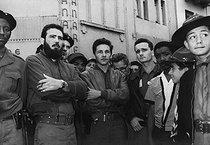 Roger-Viollet   1094991   Raúl Castro (born in 1931), Cuban politician, on visit, in front of the Manzanares cinema. Cuba, 1959.   © Gilberto Ante / BFC / Roger-Viollet