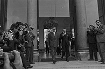 Roger-Viollet | 1135282 | May-June 1968 events. Meeting of the French Council of Ministers announcing a cabinet reshuffle. Michel Debré (1912-1996), Minister of Economy and Finance, and Robert Boulin (1920-1979), Secretary of State of Economy and Finance. Paris (VIIth arrondissement), Matignon, on May 30, 1968. Photograph by Jacques Boissay, from the collections of the French newspaper  France-Soir . Bibliothèque historique de la Ville de Paris. | © Jacques Boissay / Fonds France-Soir / BHVP / Roger-Viollet