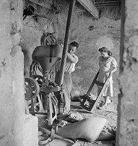 Roger-Viollet | 1143238 | Couple de paysans au travail. France, vers 1945. | © Gaston Paris / Roger-Viollet