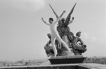 Roger-Viollet | 1301492 | Roland Petit (1924-2011), French dancer and choreographer, on the roof of the Opéra Garnier. Paris, 1965-1966. Photograph from the collections of the French newspaper  France-Soir . Bibliothèque historique de la Ville de Paris. | © BHVP / Roger-Viollet