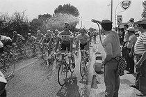 Roger-Viollet | 1351764 | Tour de France 1976. 2nd stage from Angers to Caen, on June 26, 1976. Heat wave : the racing cyclists refreshing themselves. Photograph by Bernard Charlet, from the collections of the French newspaper  France-Soir . Bibliothèque historique de la Ville de Paris. | © Bernard Charlet / Fonds France-Soir / BHVP / Roger-Viollet