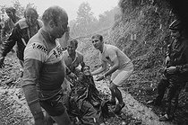 Roger-Viollet | 1351863 | Tour de France 1971. 14th stage from Revel to Luchon, on July 12, 1971. Luis Ocaña (1945-1994), Spanish racing cyclist, injured after his fall at the Mente pass. Photograph by Bernard Charlet, from the collections of the French newspaper  France-Soir . Bibliothèque historique de la Ville de Paris. | © Bernard Charlet / Fonds France-Soir / BHVP / Roger-Viollet