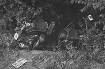 Roger-Viollet | 1359296 | Tour de France 1985. 17h stage from Toulouse to Luz-Ardiden, on July 16, 1985. Accident of a motorbike following the race. Photograph by Bernard Charlet, from the collections of the French newspaper  France-Soir . Bibliothèque historique de la Ville de Paris. | © Bernard Charlet / Fonds France-Soir / BHVP / Roger-Viollet