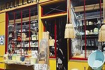 Roger-Viollet | 1372427 | Belleville district. Hardware shop. Paris (XIXth-XXth arrondissements), 1968-1975. Photograph by François-Xavier Bouchart (1946-1993). Paris, musée Carnavalet. | © François-Xavier Bouchart / Musée Carnavalet / Roger-Viollet