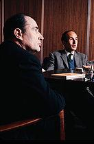 Roger-Viollet | 1381564 | Meeting between François Mitterrand (1916-1996) and Valéry Giscard d'Estaing (1926-2020), French statesmen. Paris, 1970. | © Jean-Régis Roustan / Roger-Viollet