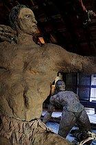Roger-Viollet | 1383243 | Ousmane Sow (1935-2016). Series  The Battle of Little Bighorn ,  Chief Gall  and  Wounded Indian . Place forte de Mont-Dauphin (Hautes-Alpes, France), Centre des Monuments Nationaux, May 2021. | © Béatrice Soulé / Roger-Viollet